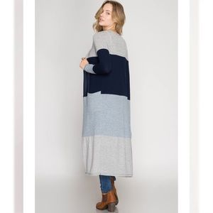 Sweaters - NWT Color Block Maxi Cardigan Sweater Blue Gray